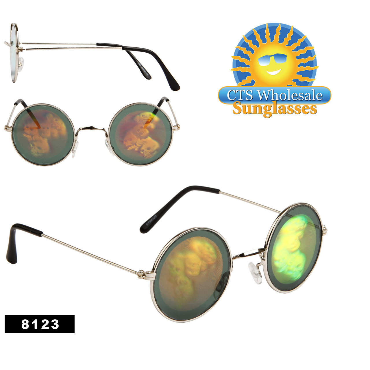 Skulls Hologram Sunglasses Wholesale - 8123