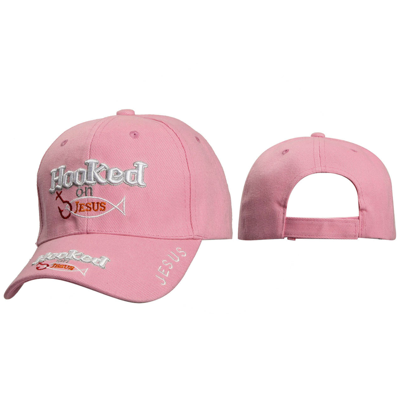 Wholesale Christian Caps ~ Hooked on Jesus ~ Pink