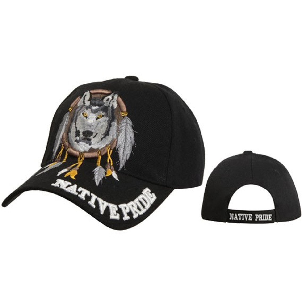 Wholesale Baseball Caps ~ Dreamcatcher with Wolf ~ Black