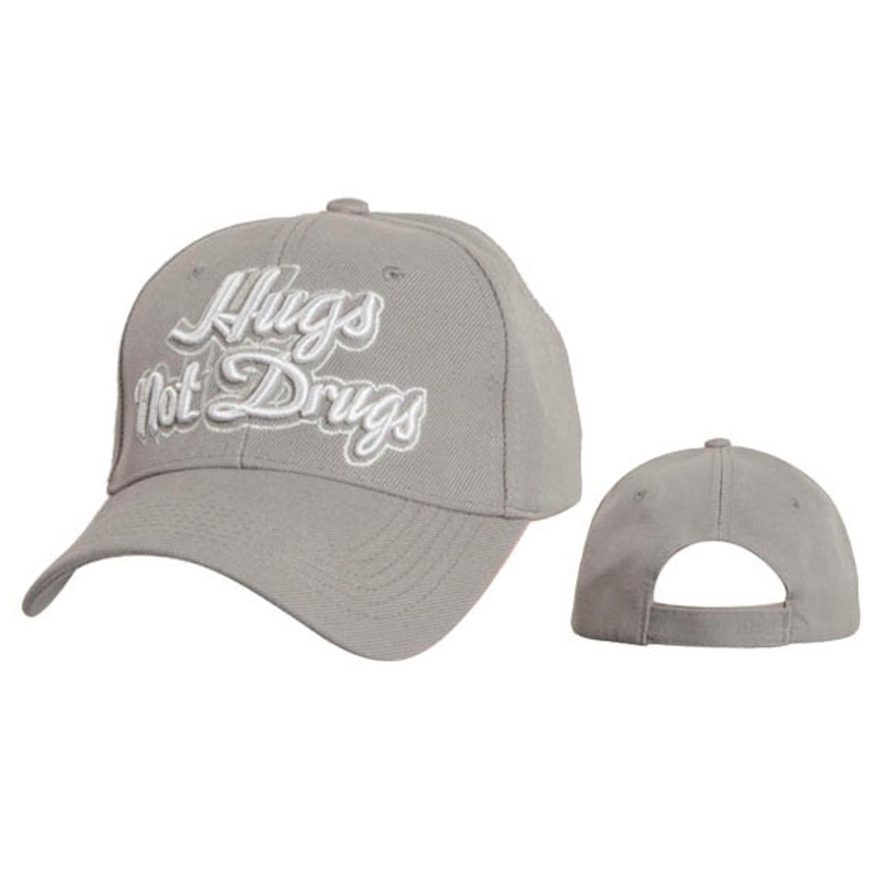 "Wholesale ""Hugs Not Drugs"" Baseball Caps Light Grey"
