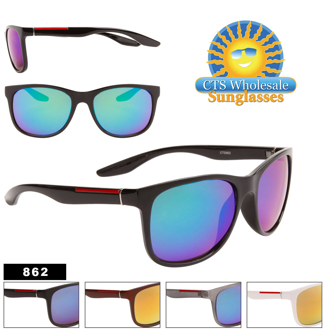 Mirrored Unisex Wholesale Sunglasses - Style #862