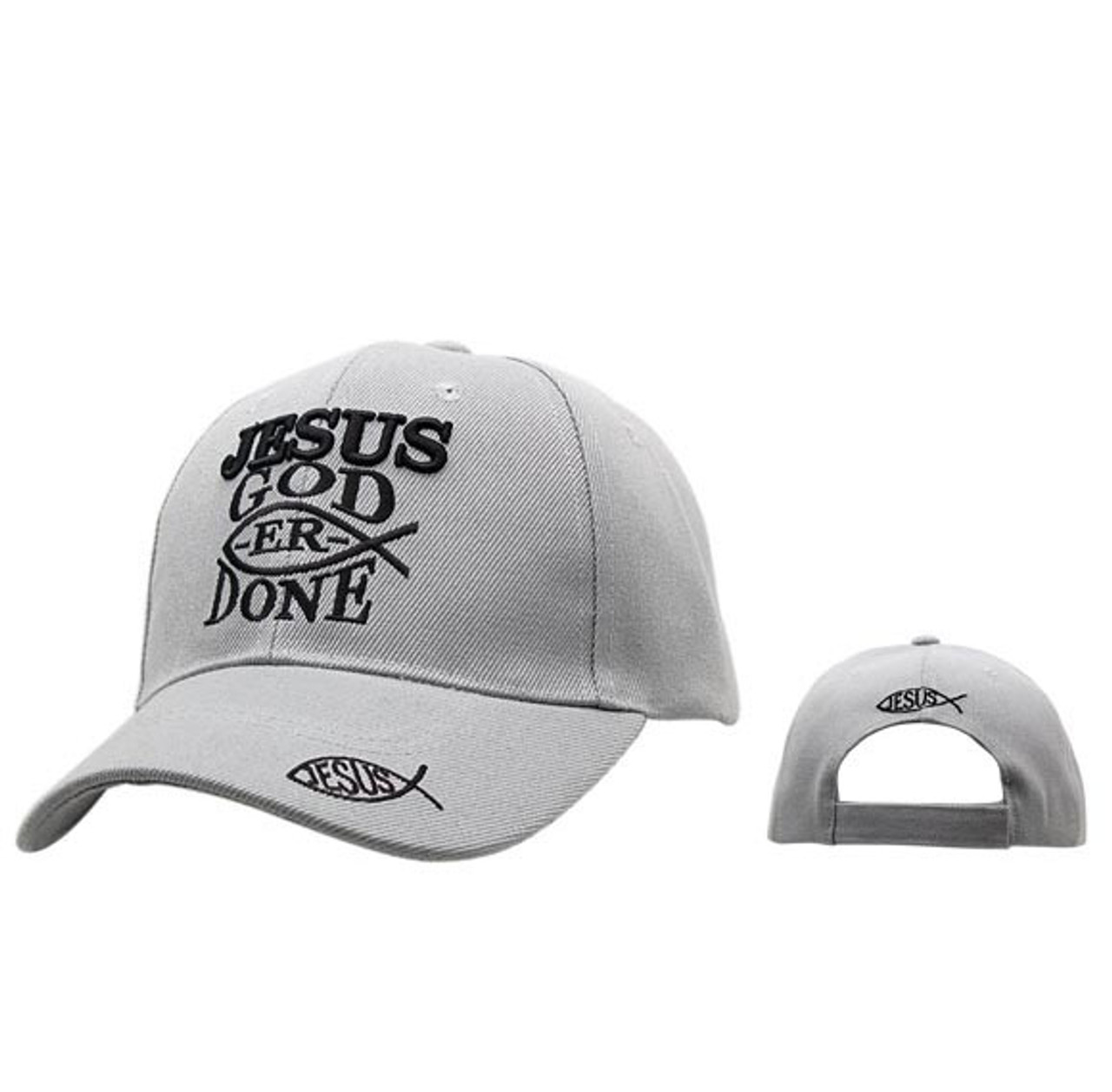 "Baseball Hat ""Jesus God-er Done""- Grey C213"