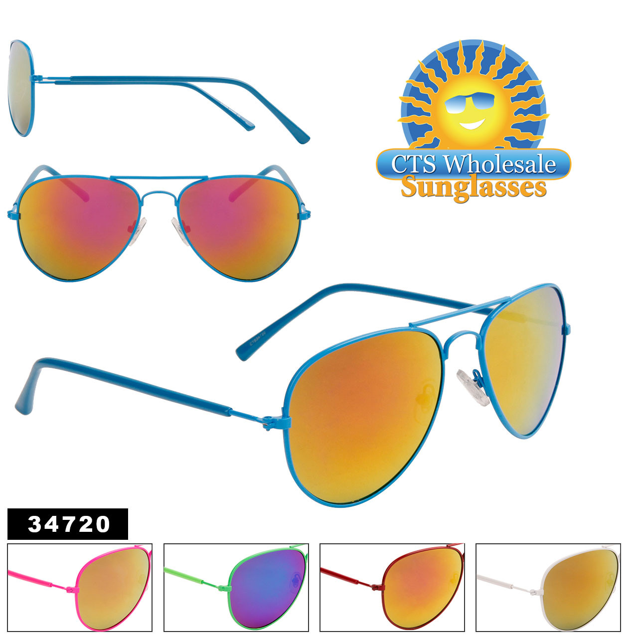 Wholesale Mirrored Aviators - Style #34720