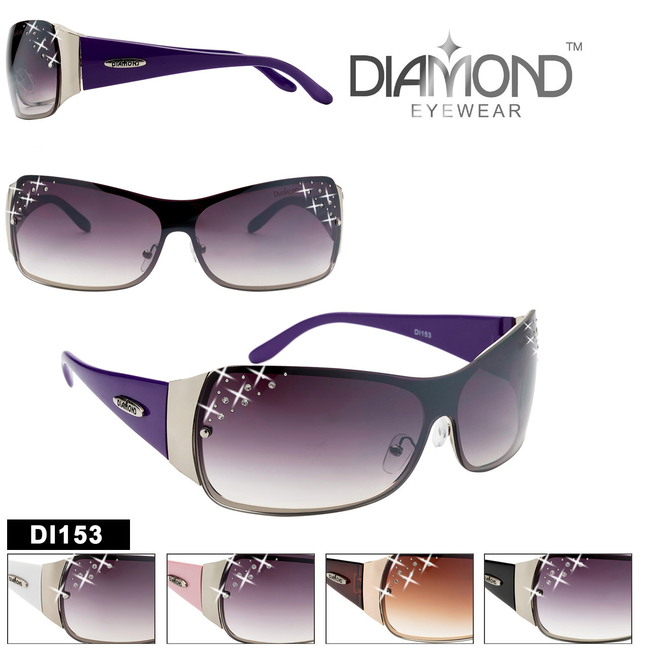 8ea3efec47d Diamond™ Eyewear Rhinestone Wholesale Sunglasses - Style  DI153 (