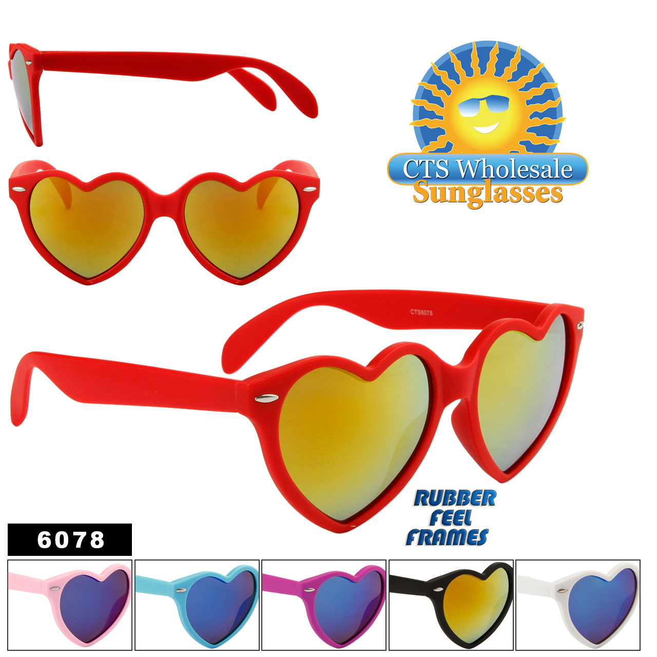 f3147d785b Wholesale Heart Sunglasses - Style  6078