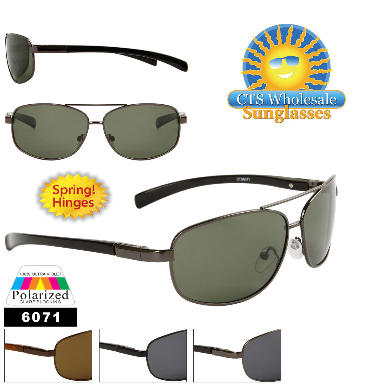 Polarized Wholesale Aviators - Style #6071 Spring Hinges