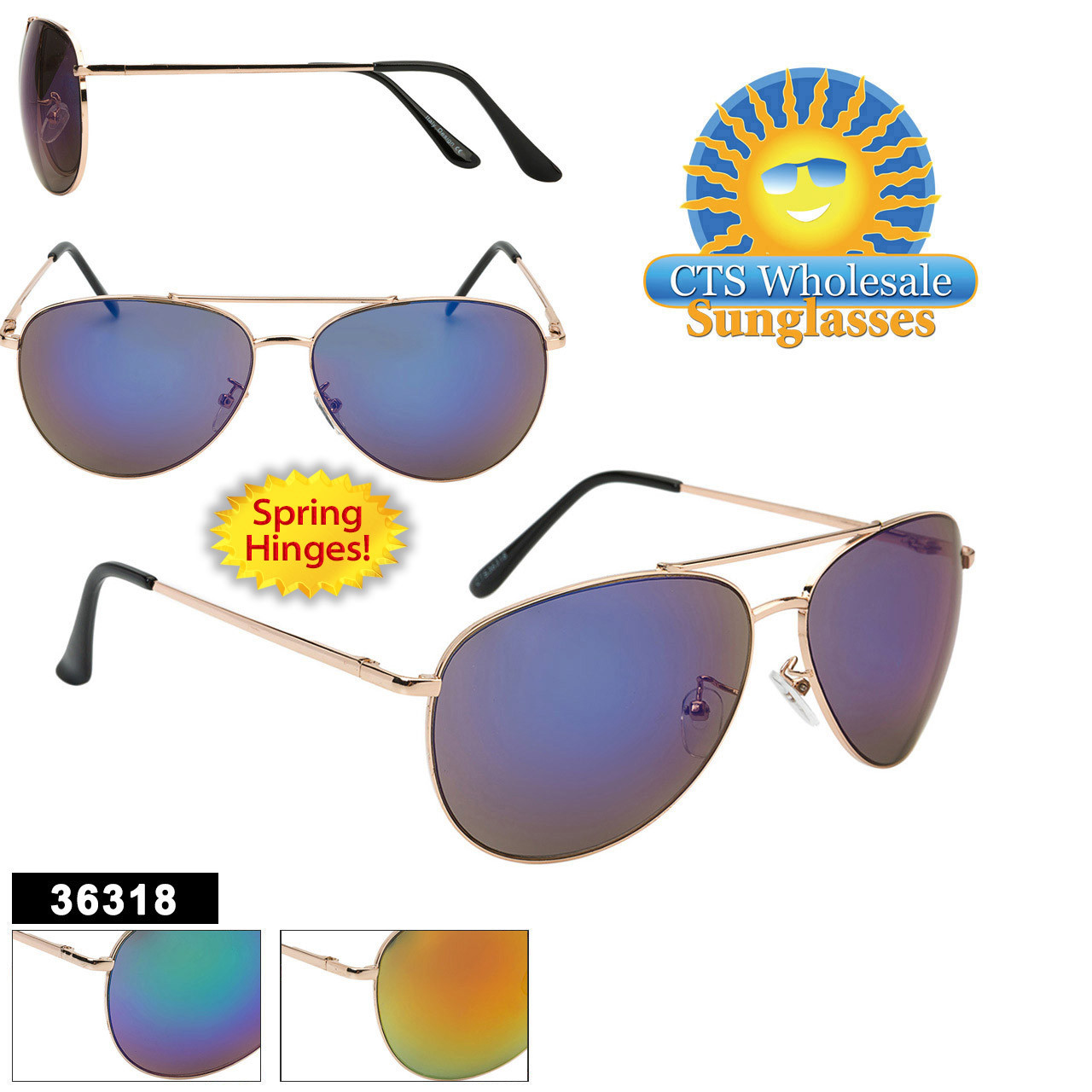 Aviator Sunglasses - Style #36318 Spring Hinge (Assorted Colors) (12 pcs.)