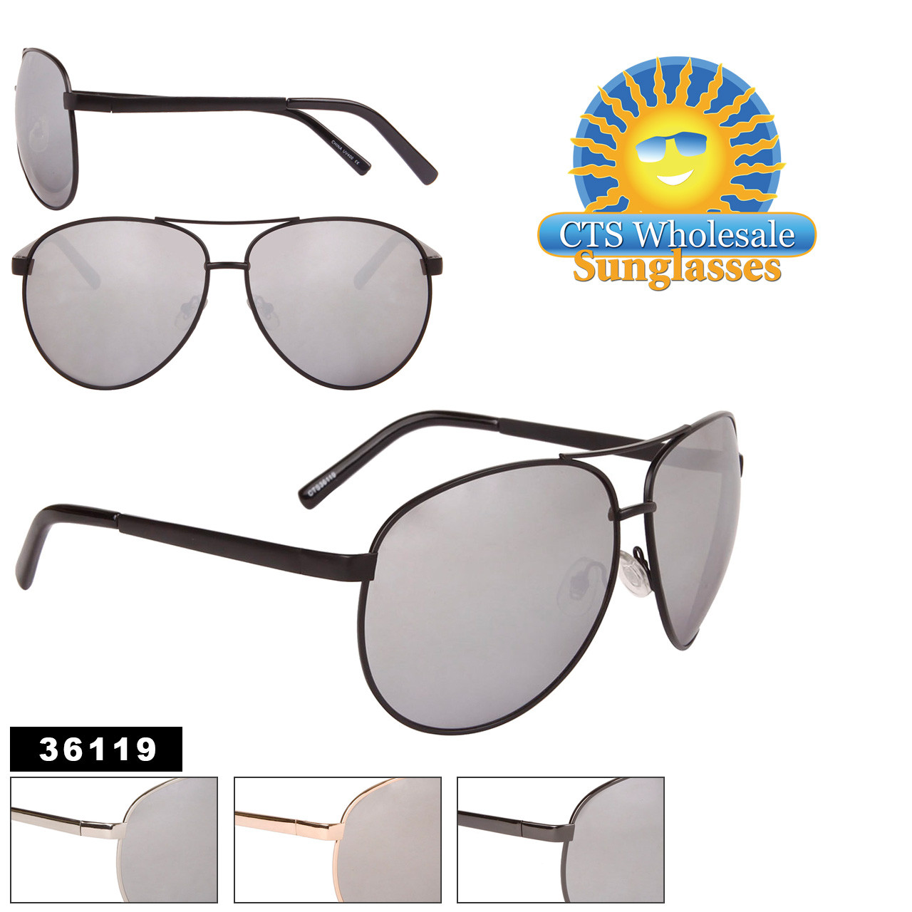 Mirrored Big Lens Aviators in Bulk - Style #36119