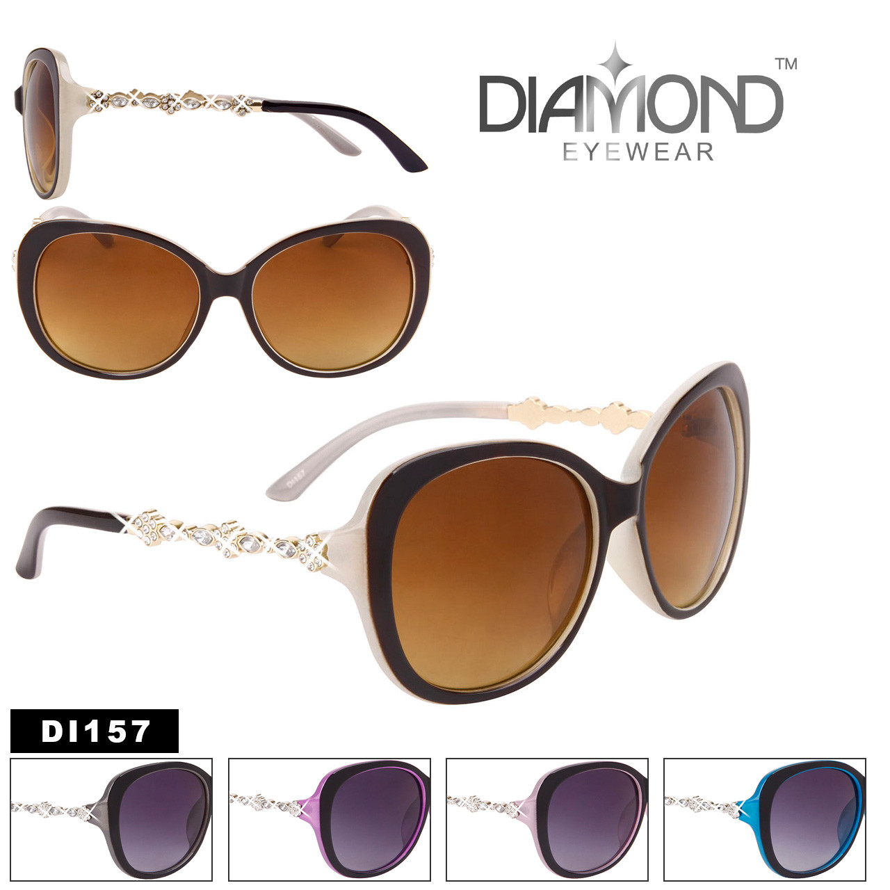 Bulk Cat-Eye Rhinestone Sunglasses - Style #DI157