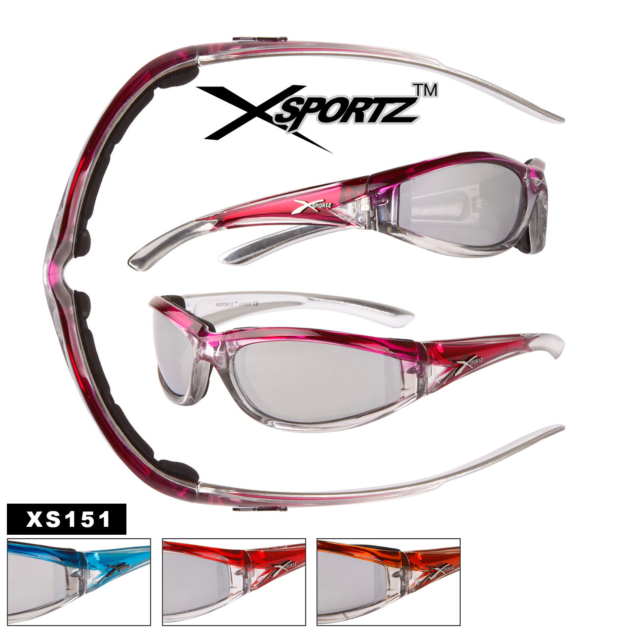 1d0104ae37d Xsportz™ Wholesale Motorcycle Sunglasses - Style  XS151 Foam Padded