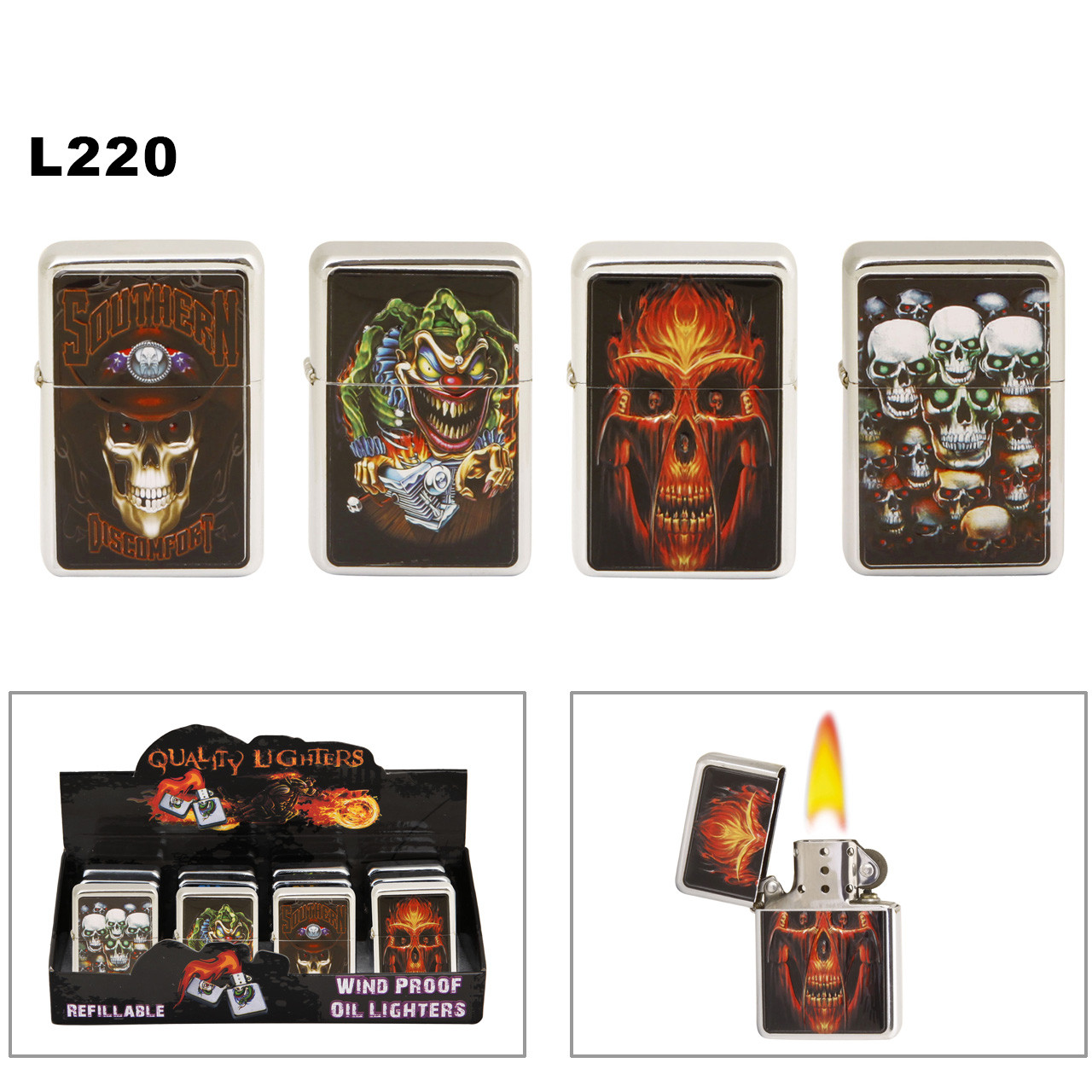 Wholesale Oil Lighters ~ Lighter Fluid NOT Included L220 (12 pcs.) Skulls