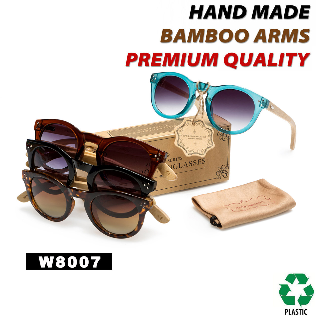 436aad934d285 Hand Made Fashion Bamboo Wood Sunglasses - Style  W8007