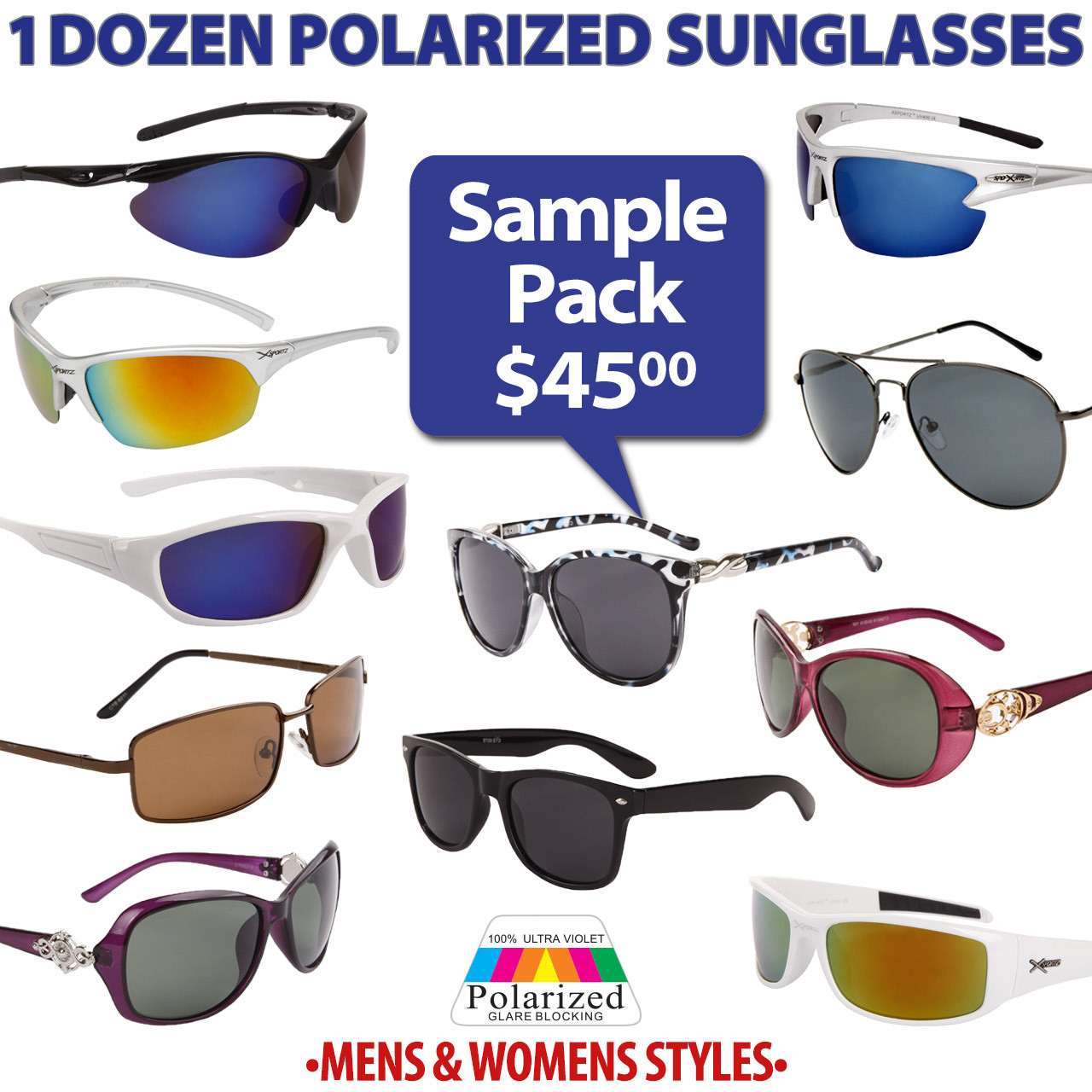 1 Dozen Sample Pack Polarized Sunglasses - Men & Women's Styles