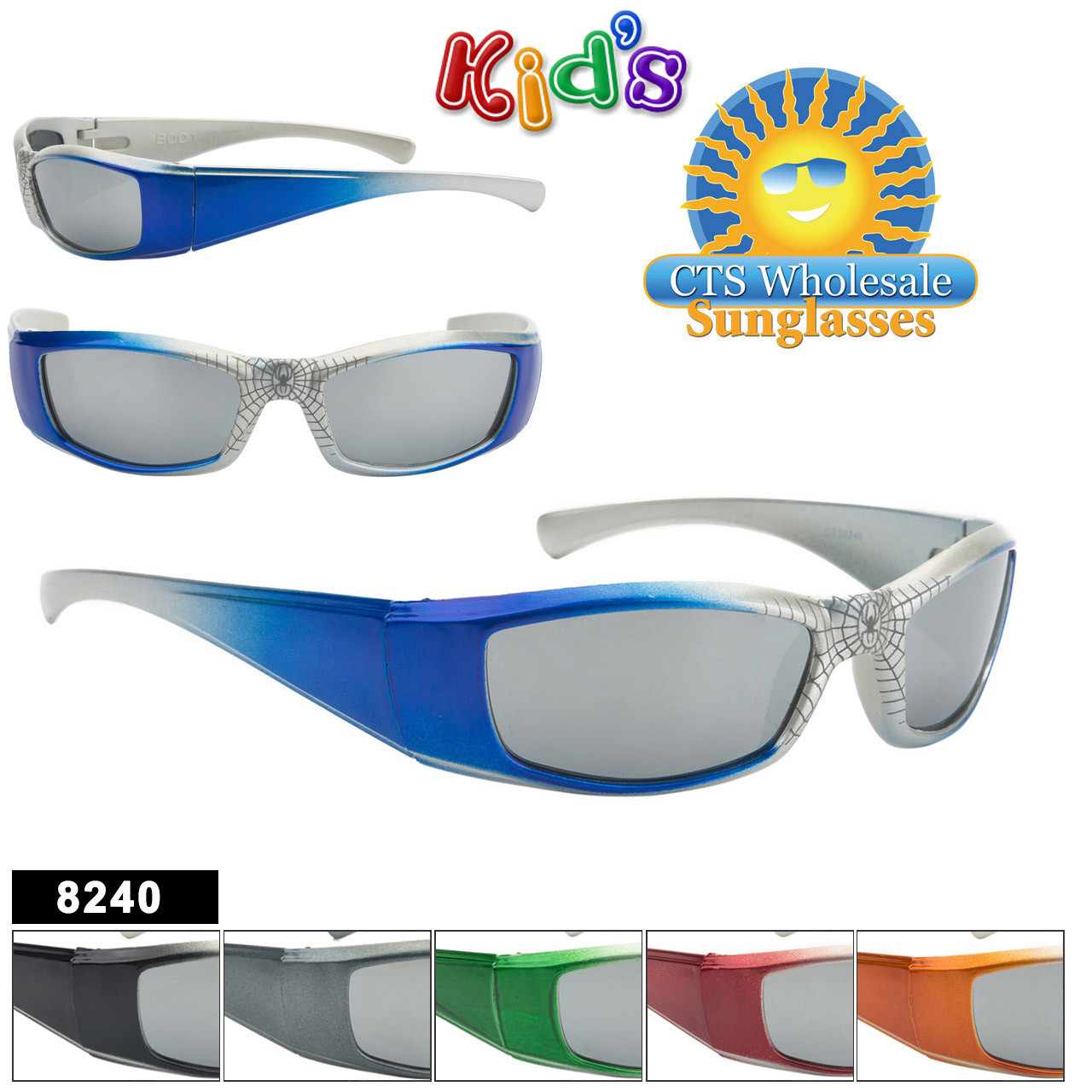 e749ca1c4939 Mirrored Spider Web Sunglasses For Kids - Style #8240 | CTS ...