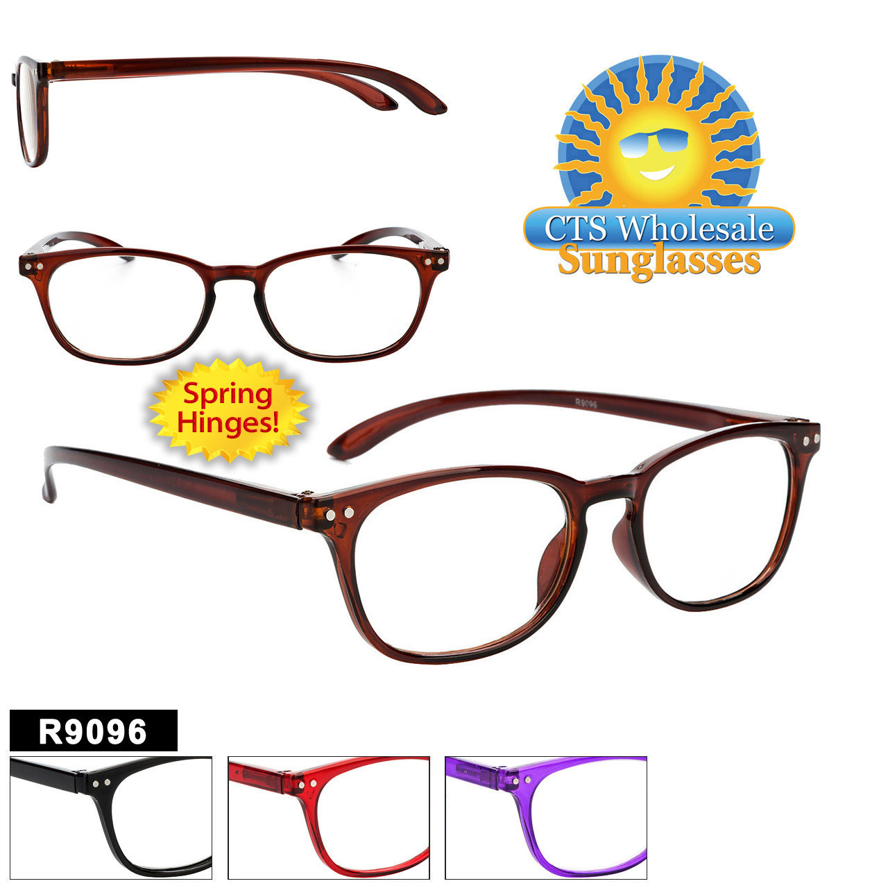 Plastic Reading Glasses - R9096 Spring Hinge!
