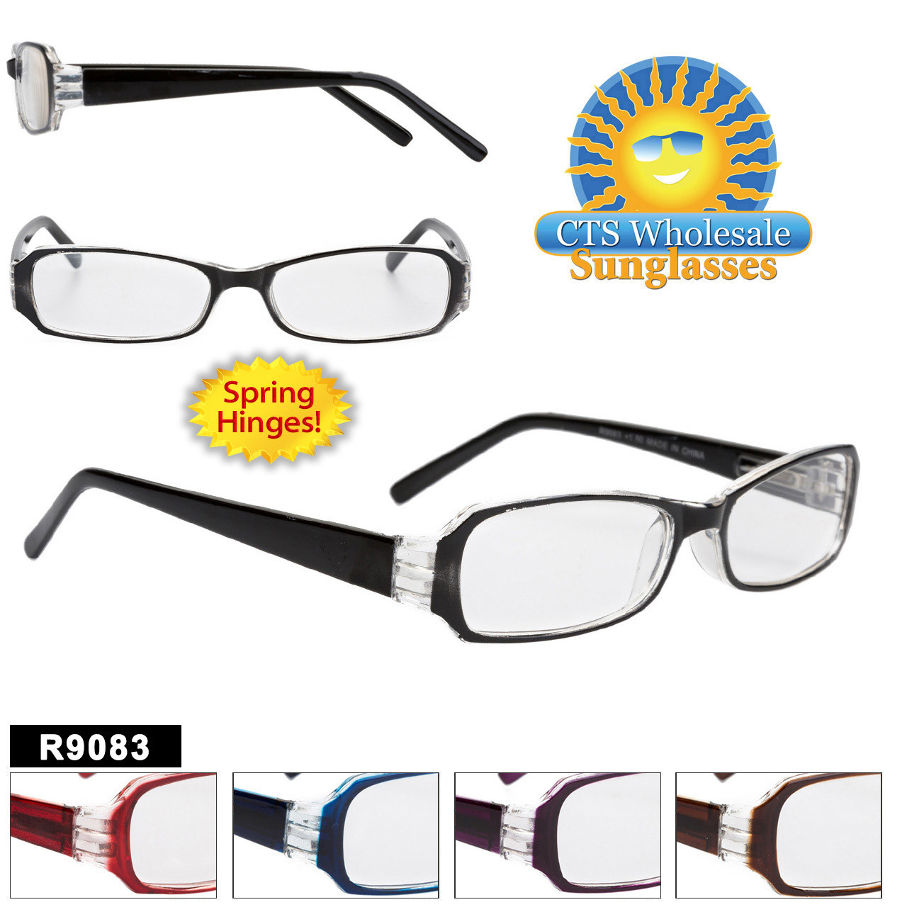 Plastic Reading Glasses - R9083 Spring Hinge!
