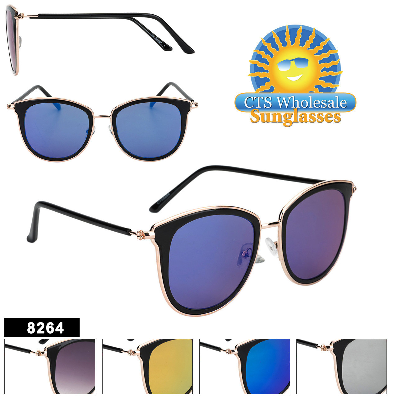 Mirrored Women's Retro Sunglasses - Style #8264