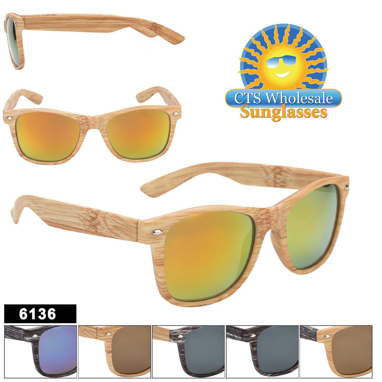 Bulk Classic Sunglasses - Style #6136 Faux Wood!