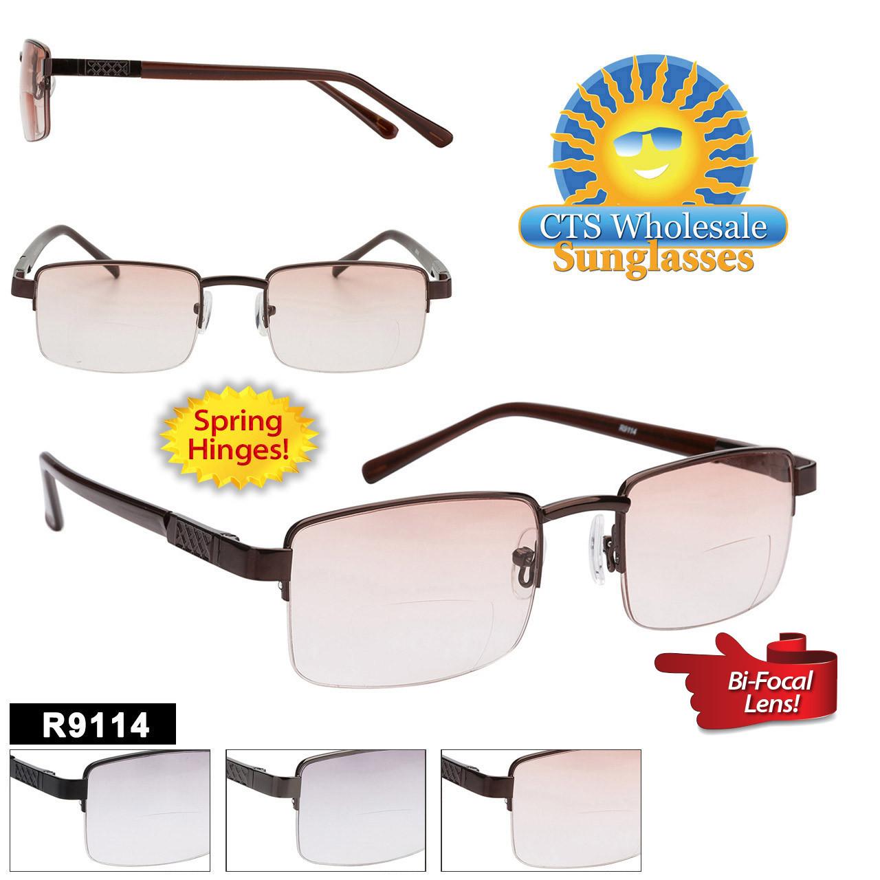 Tinted Bi-Focal Reading Glasses - R9114 Spring Hinges!