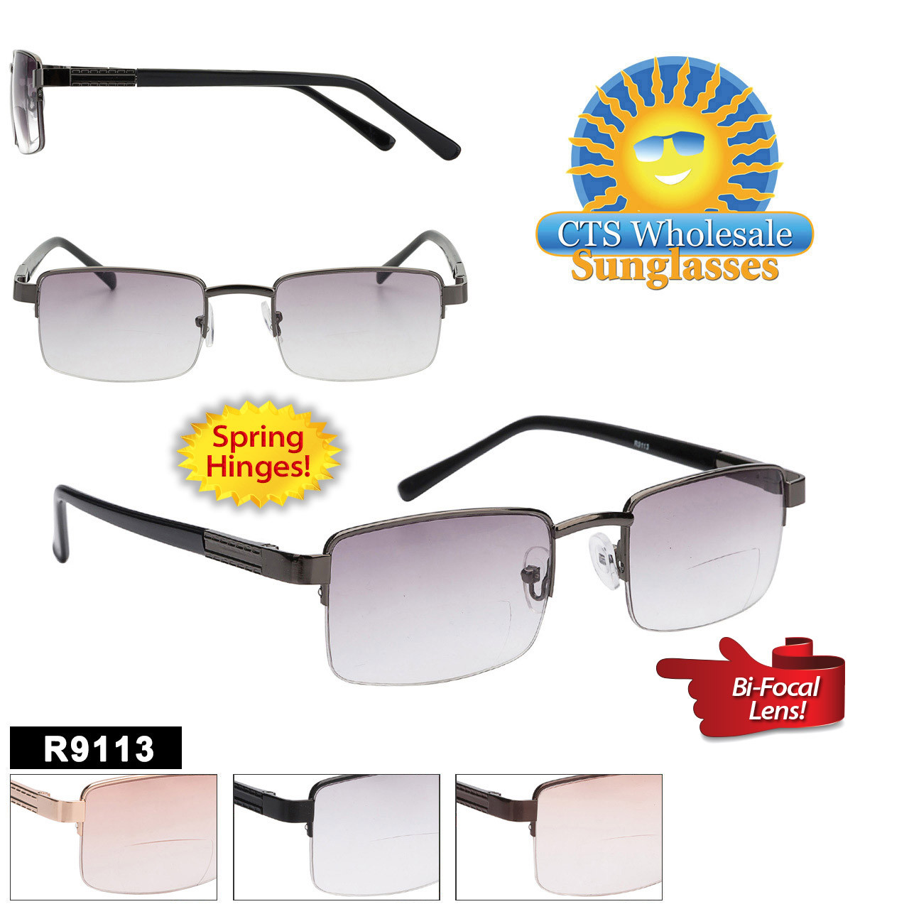 Tinted Bi-Focal Reading Glasses - R9113 Spring Hinges!