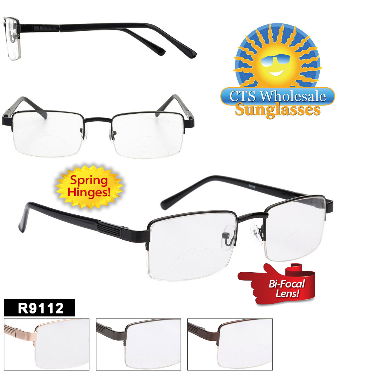 Wholesale Bi-Focal Readers - R9112 Spring Hinges