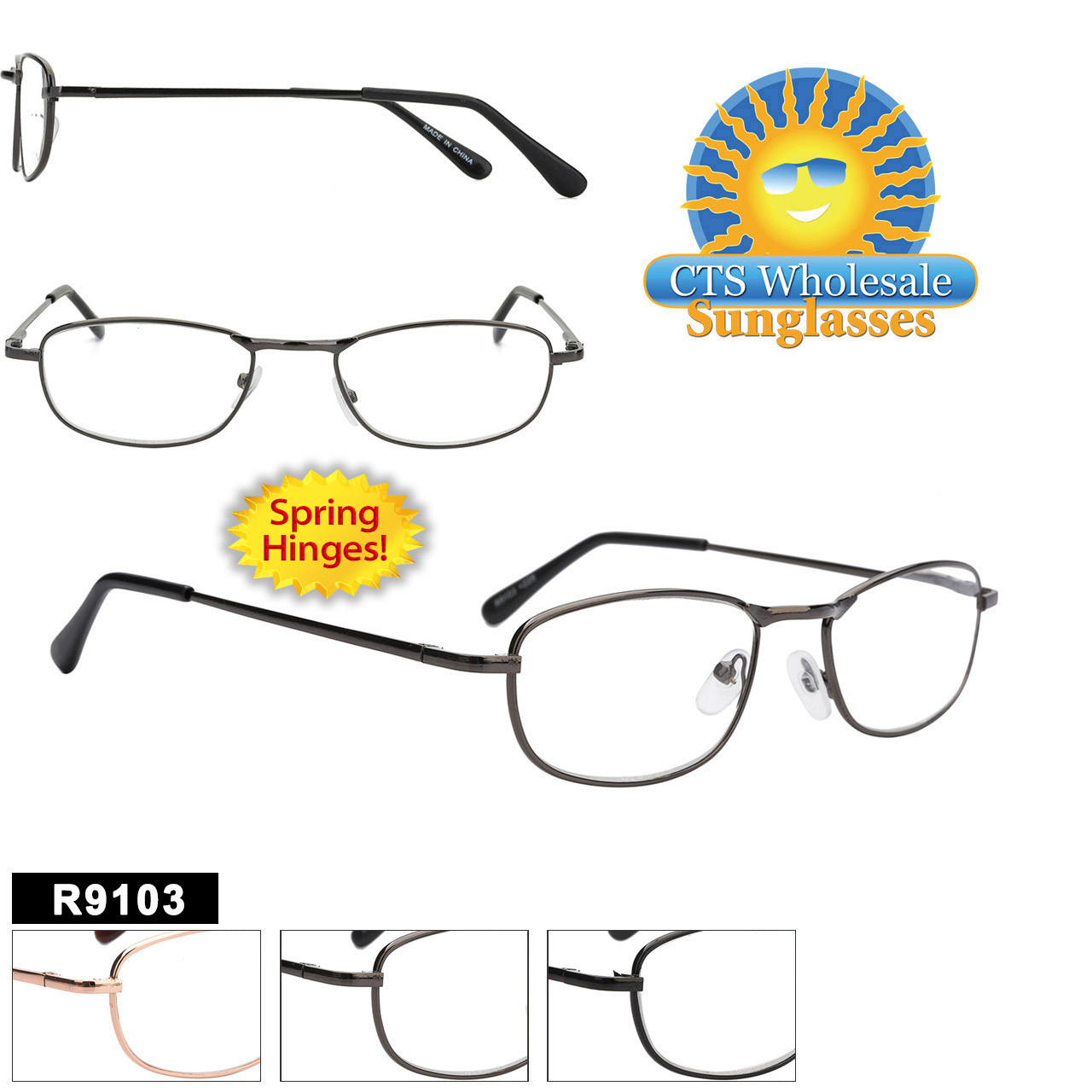 Wholesale Readers - R9103 Spring Hinge Temples