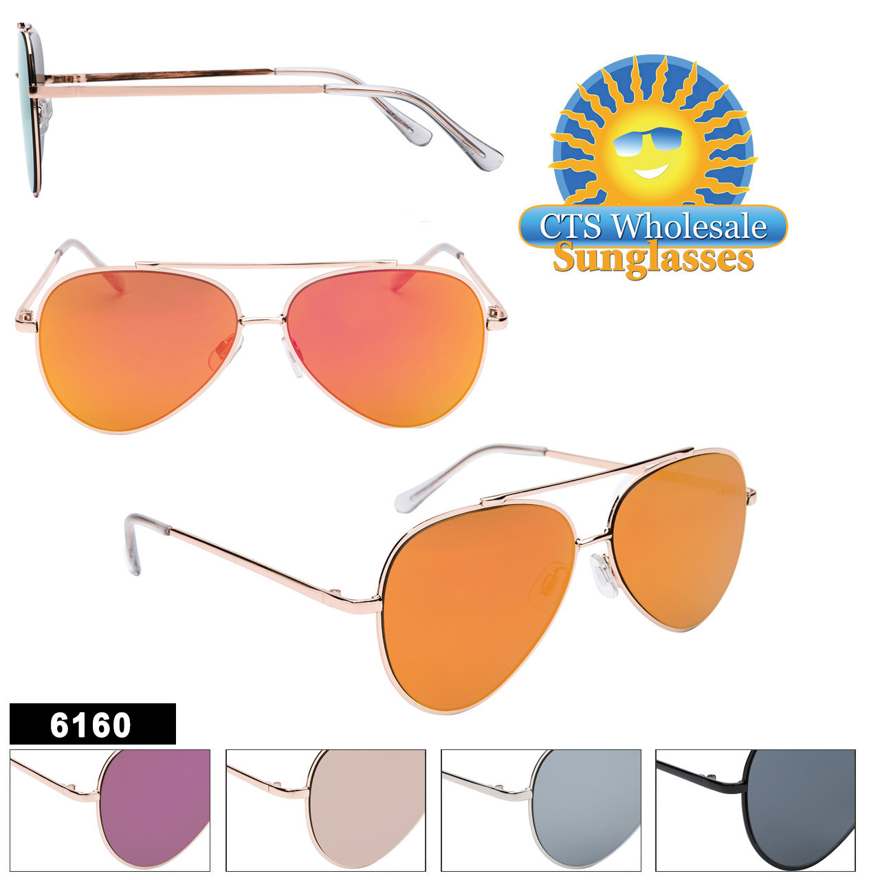 Bulk Mirrored Aviators - Style #6160