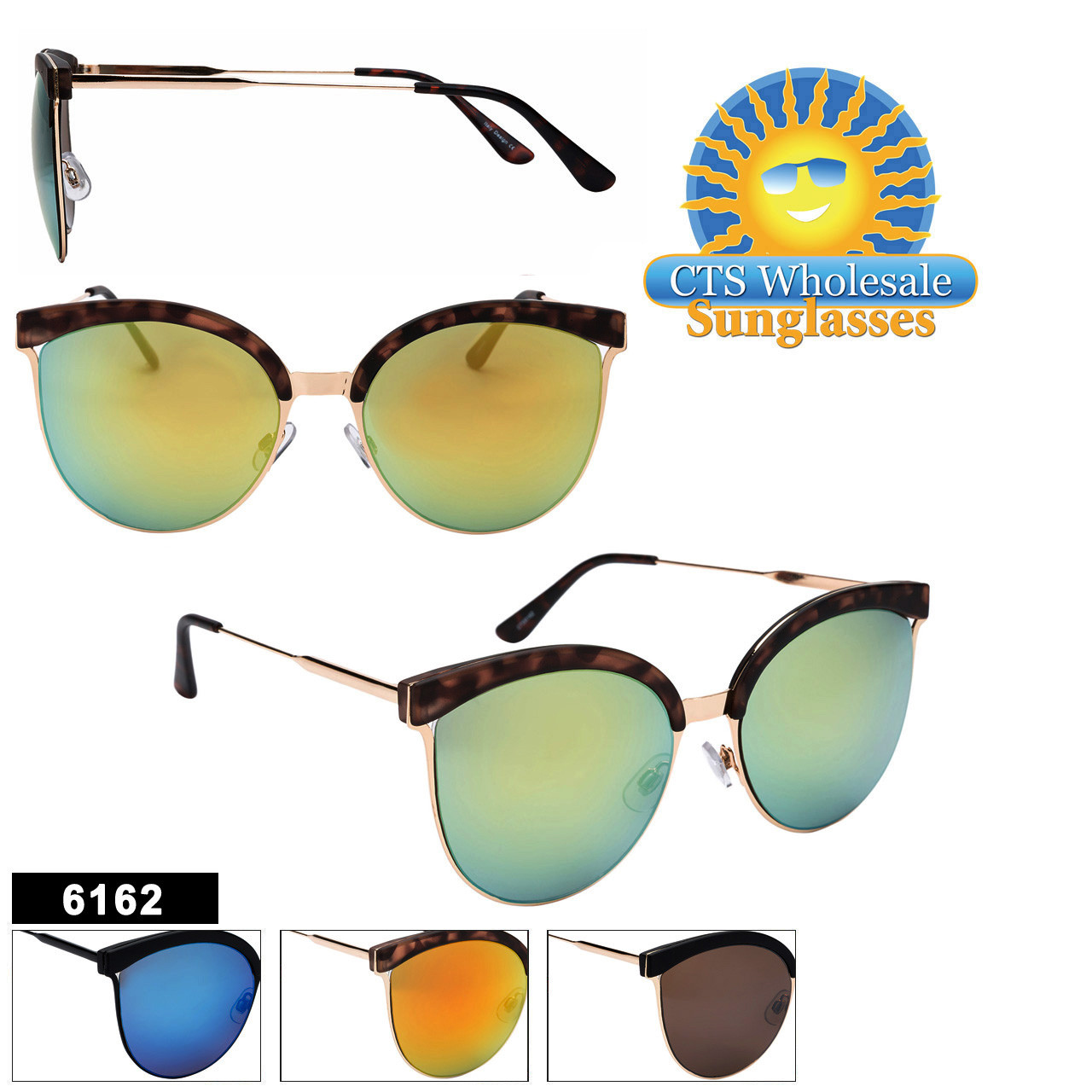 Women's Mirrored Sunglasses in Bulk  - Style #6162