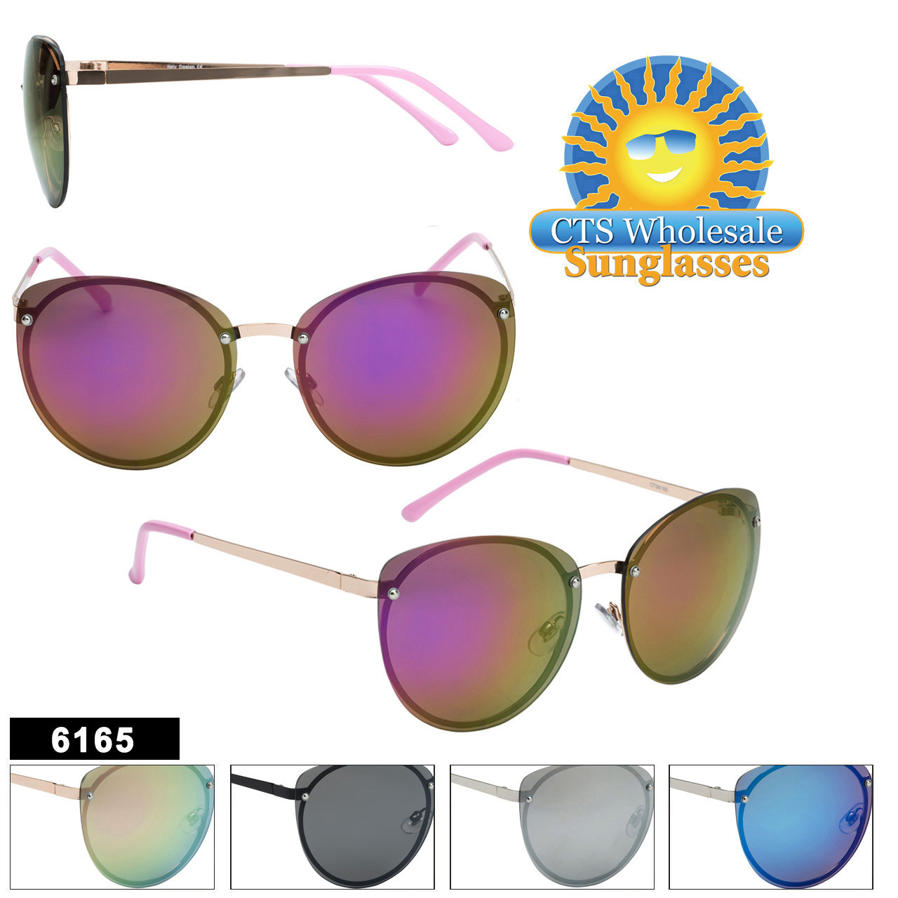 Women's Mirrored Sunglasses in Bulk  - Style #6165
