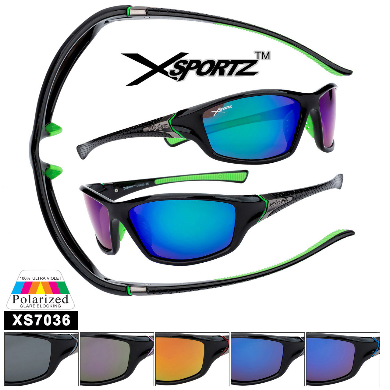 Bulk Polarized Xsportz™ Sports Sunglasses XS7036