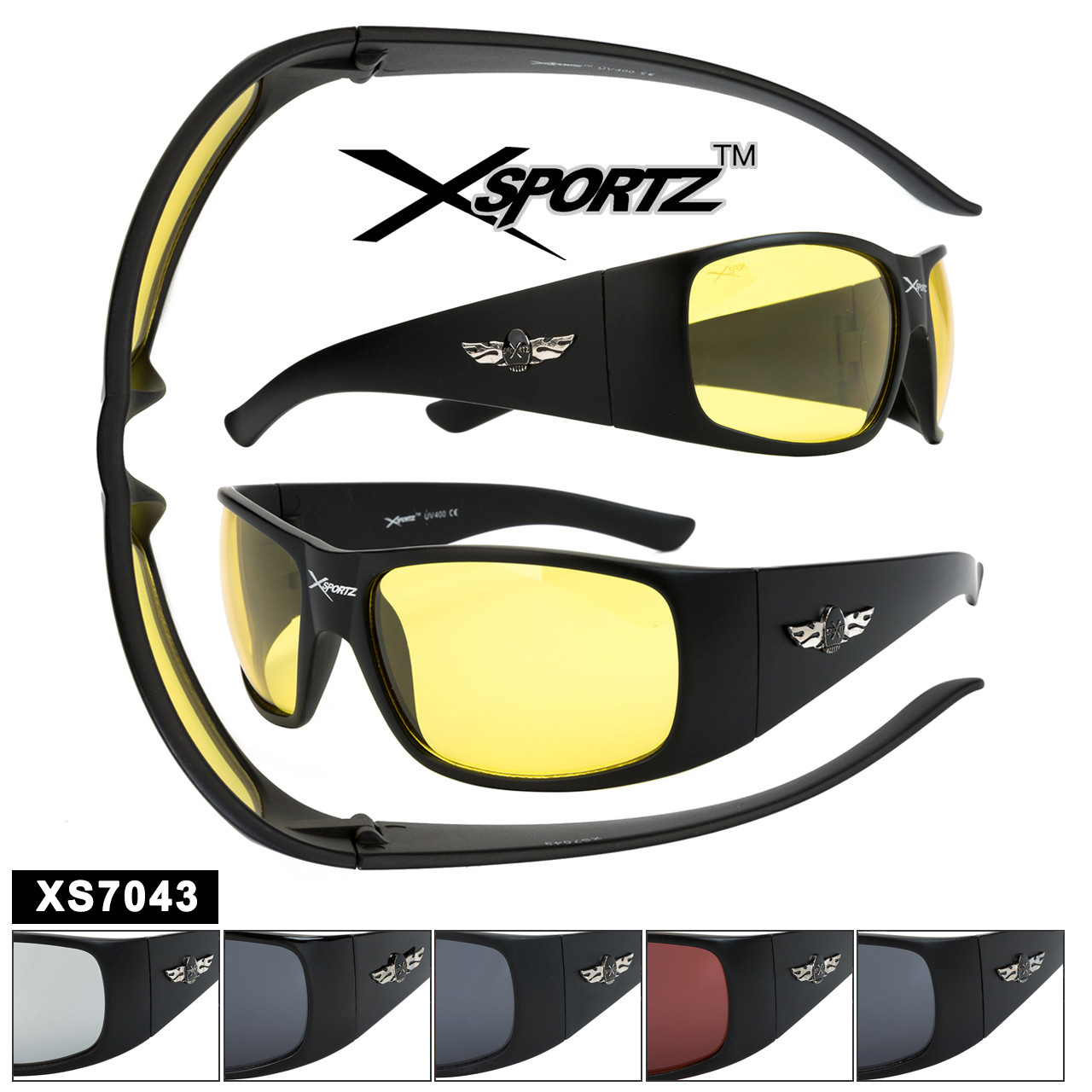 Bulk Sports Sunglasses - Style XS7043 (Assorted Colors) (12 pcs.)