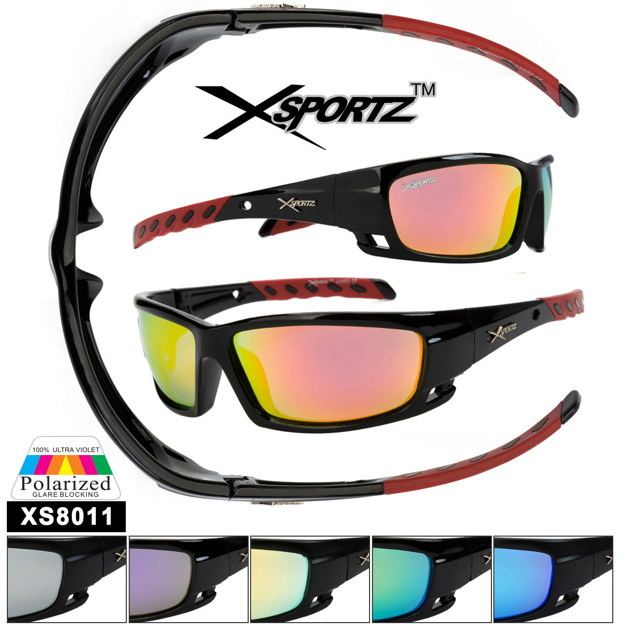 Polarized Xsportz™ Sunglasses Wholesale  - Style XS8011 (Assorted Colors) (12 pcs.)