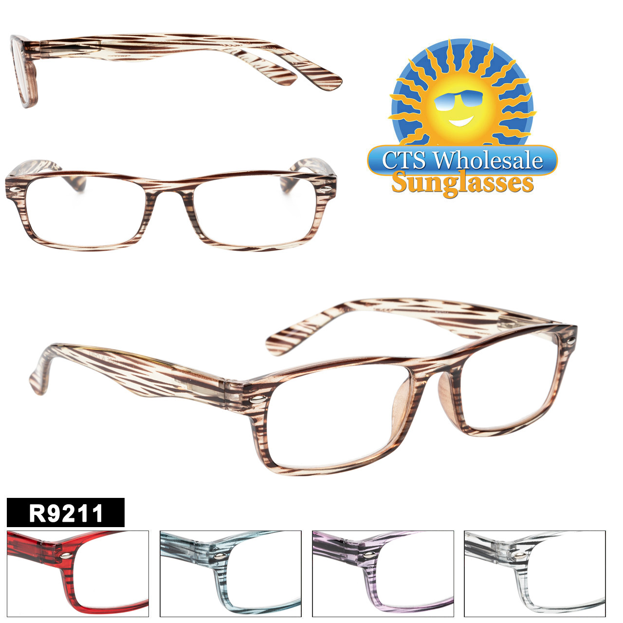 Reading Glasses in Bulk - R9211(12 pcs.) Assorted Colors ~ Lens Strengths +1.00—+3.50