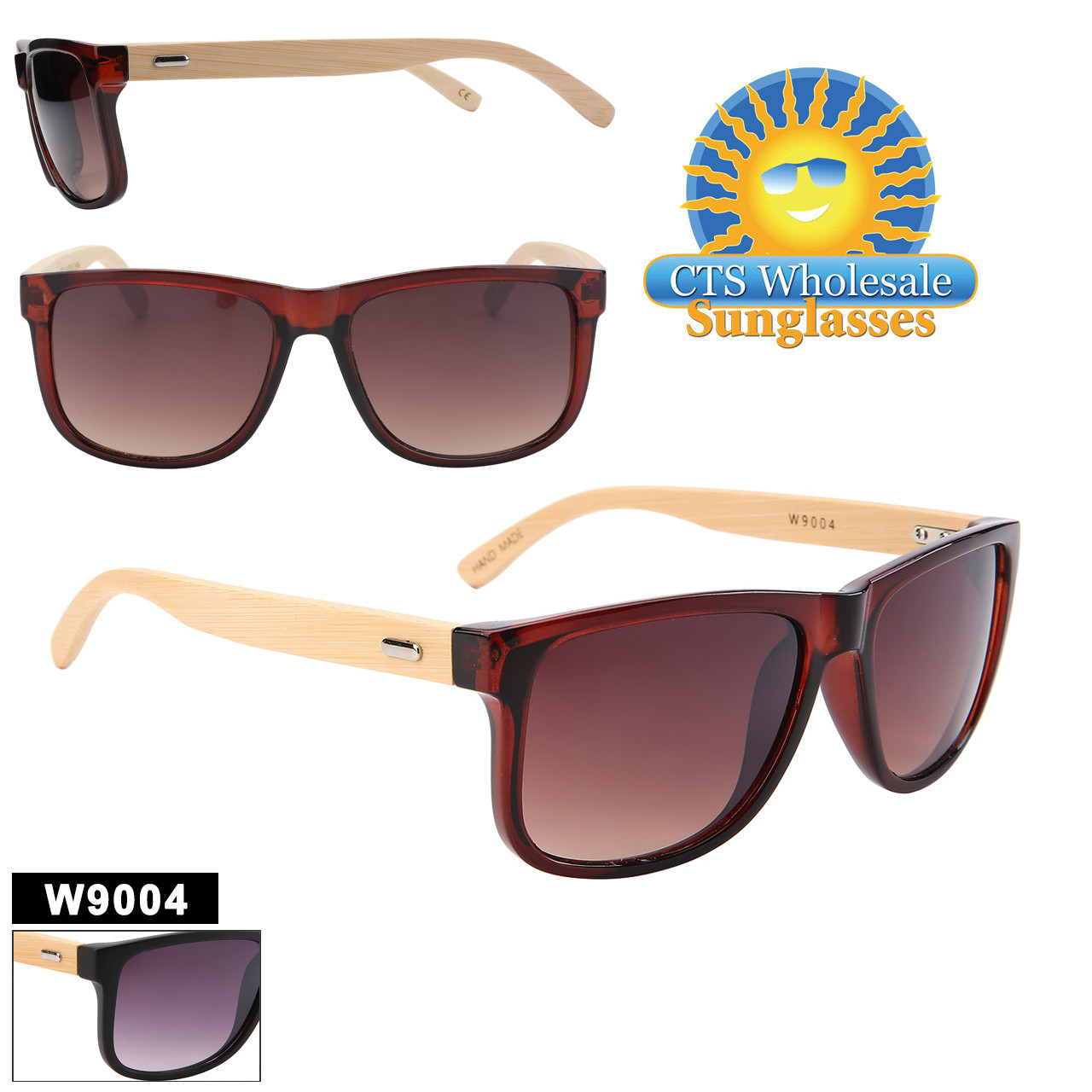 Wood temple bamboo sunglasses with plastic frame.