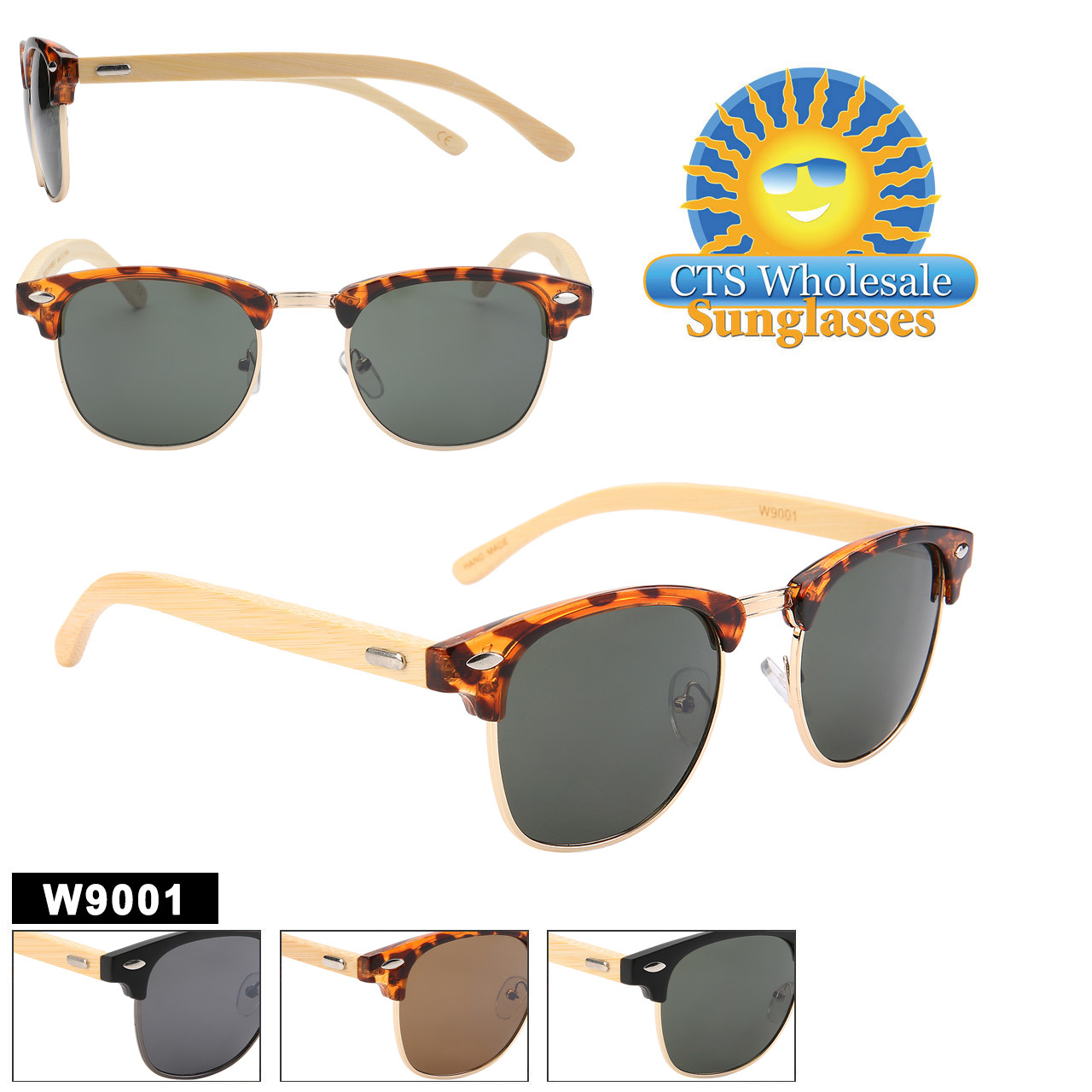 Great looking Bamboo style sunglasses with recycled plastic and metal frames.  This style comes in both Black and Tortoise colored frames with Amber and Black lenses.