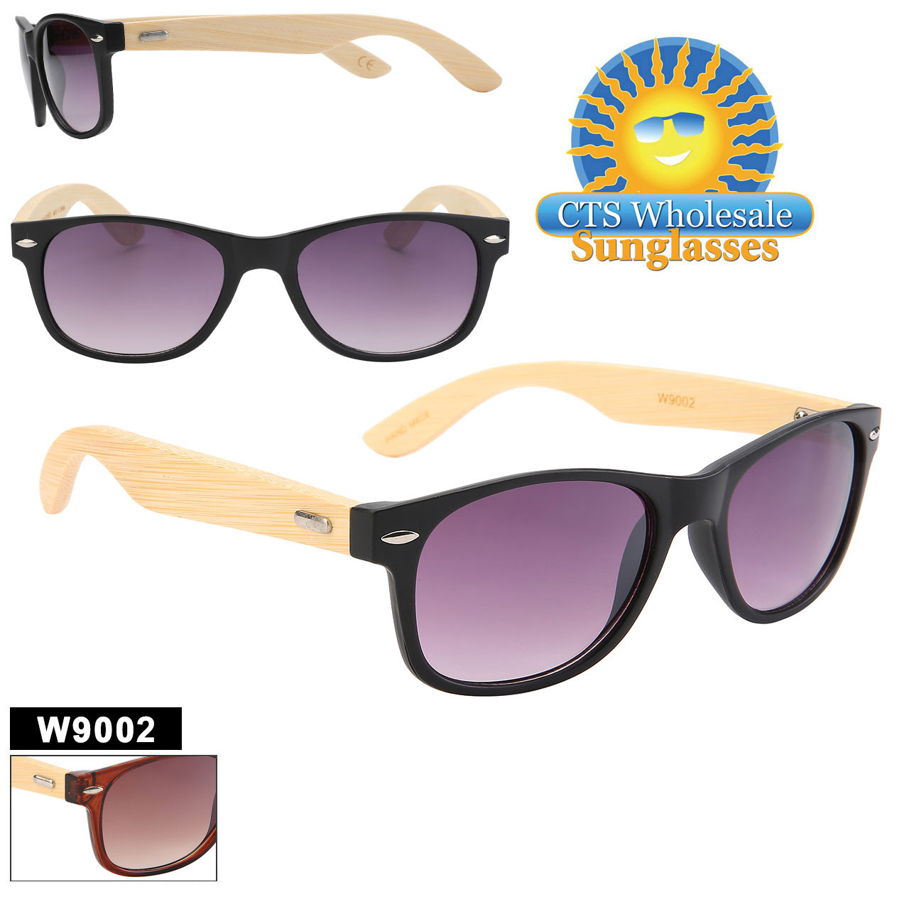 Great Bamboo style sunglasses.  Bamboo temples with recycled plastic frames.  This style comes in 2 different classic color combinations.