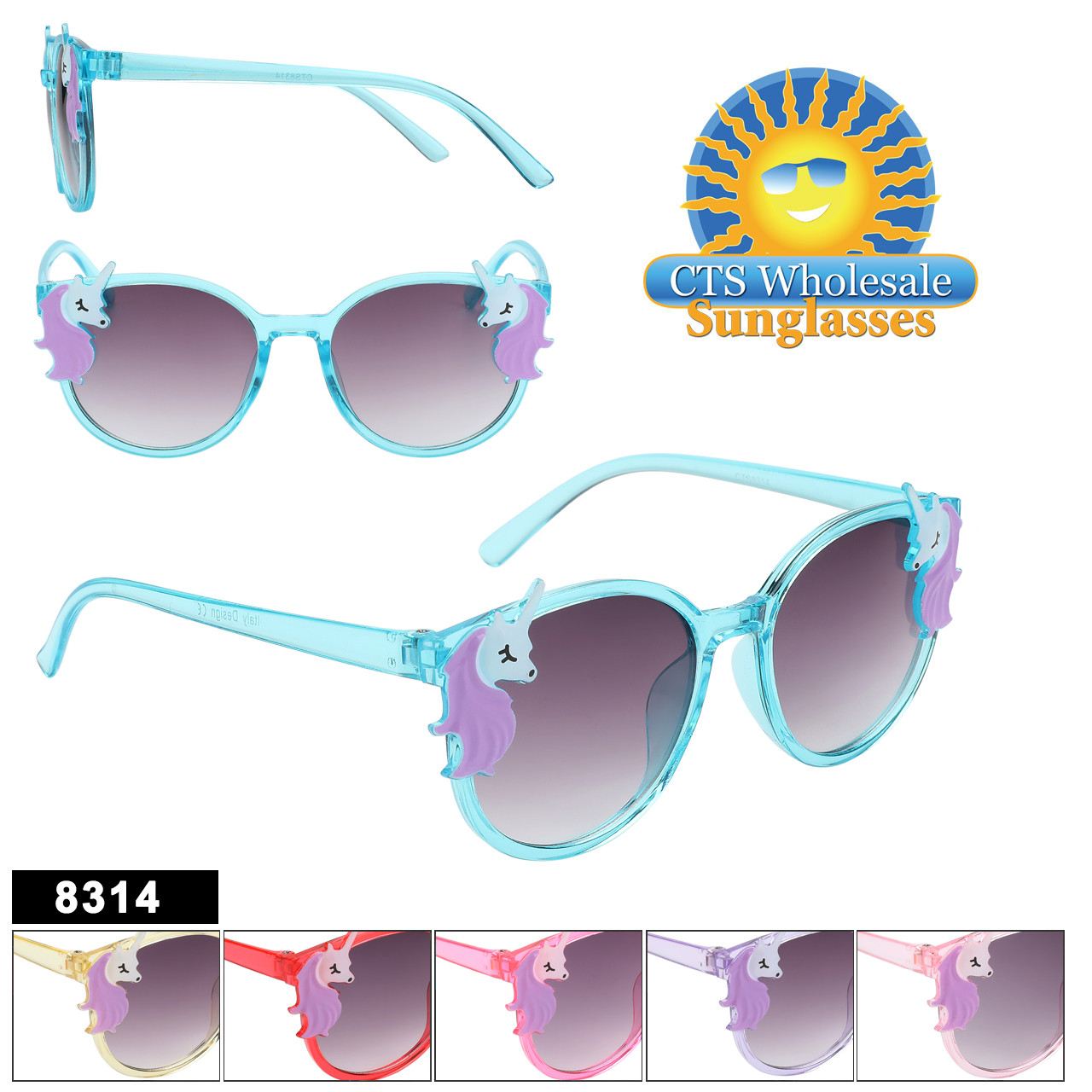 Adorable Kids Unicorn Sunglasses in 6 great colors and Unicorn accents!