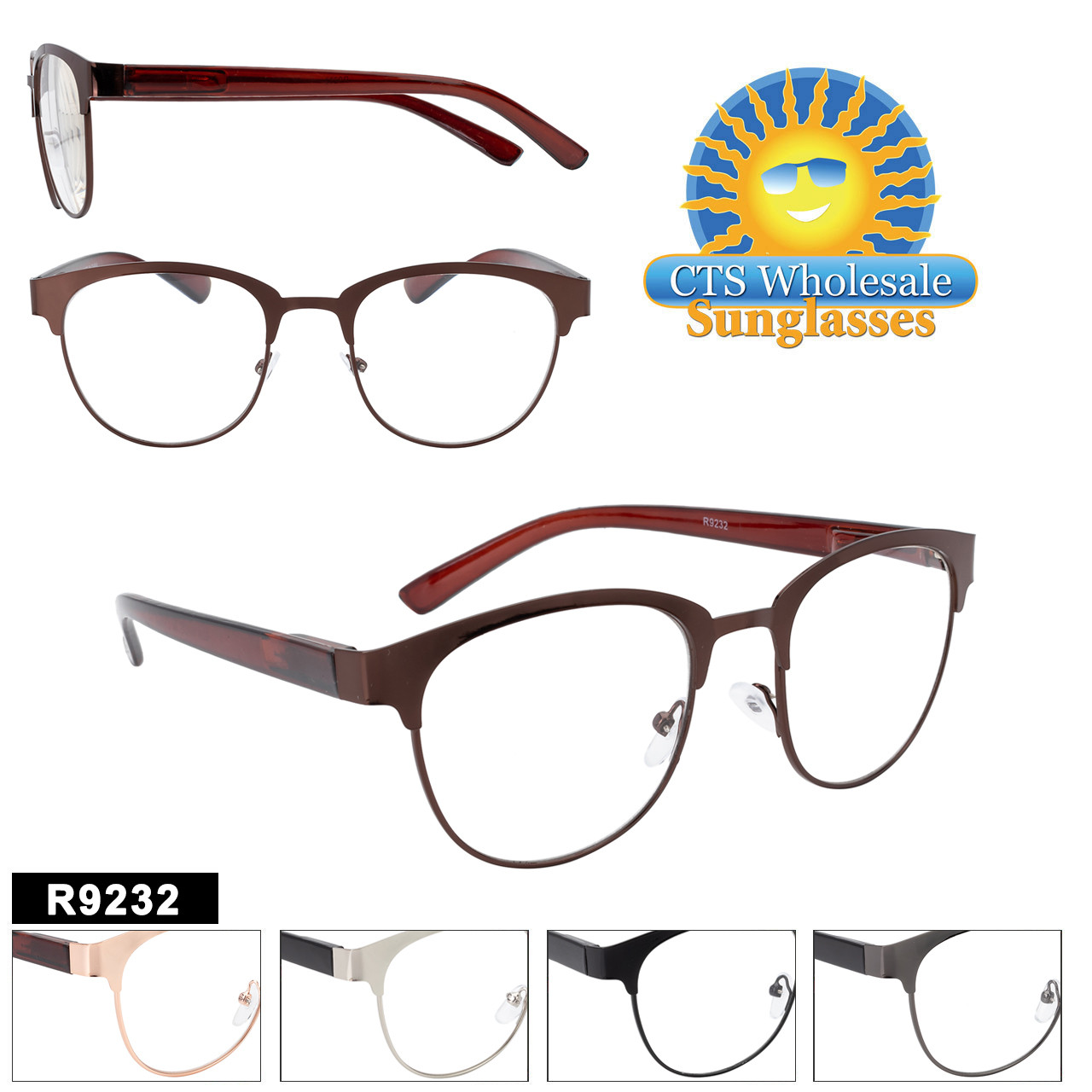 High Fashion Readers!  Great quality with spring hinges for extra comfort while wearing.  This style comes in 5 great colors.