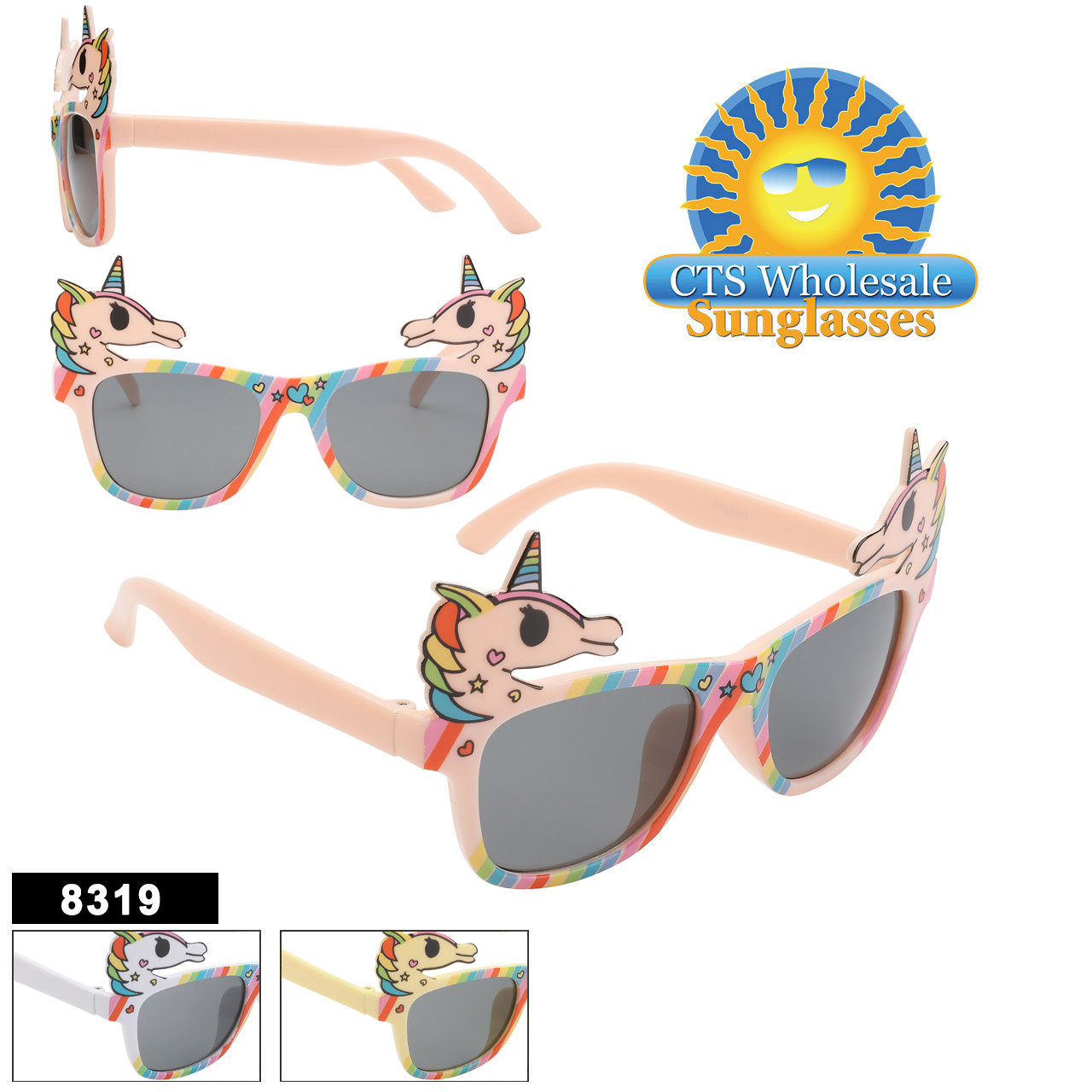 Bright colorful and fun!  These Unicorn kids sunglasses are sure to be a hit!