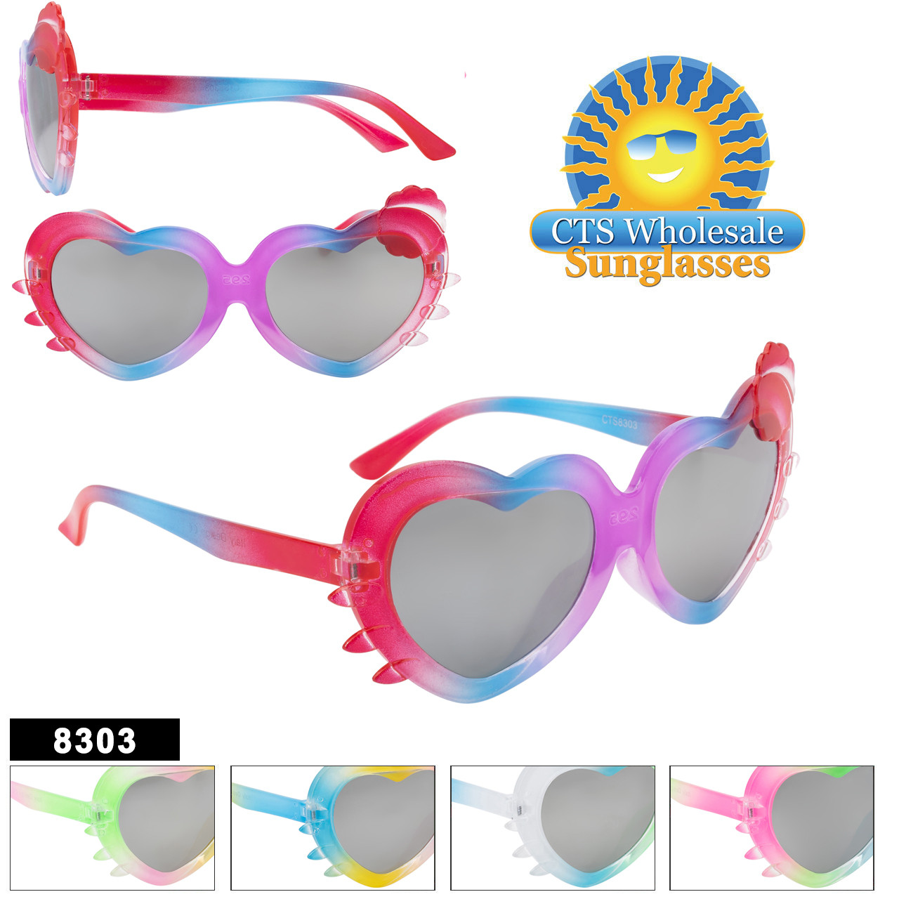 Cute Heart shaped frames in 5 great color combinations with kitty whisker accents on each side.