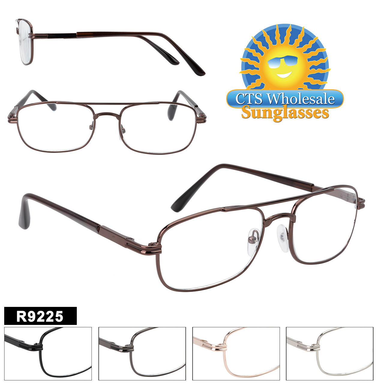 With its Aviator like styling, this style of Wholesale Readers  suites a variety of faces.  Sure to be a hit with 5 color choices and a variety of lens powers.