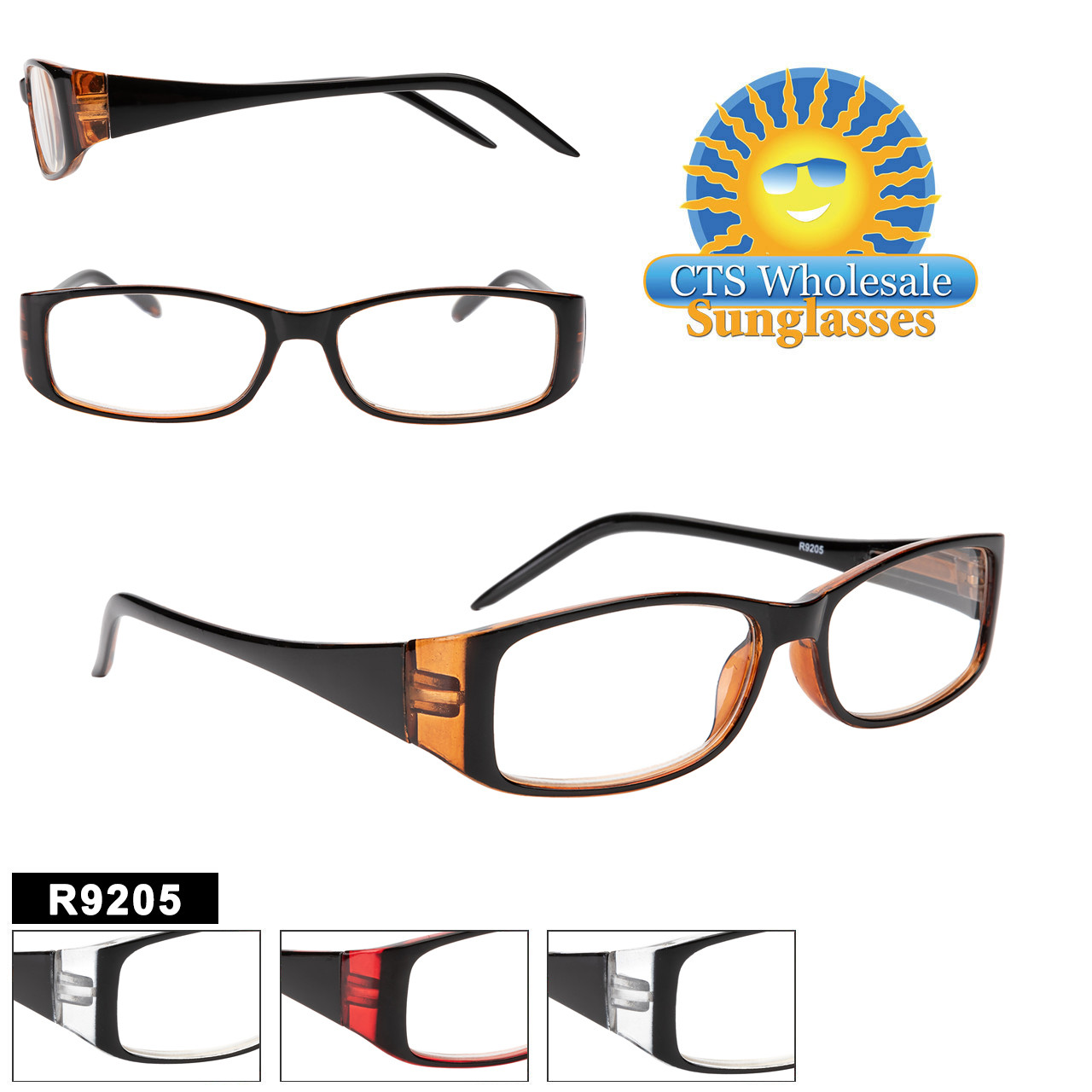 Very Fashionable Reading Glass style comes in 4 dual colored frame choices and a variety of lens powers.