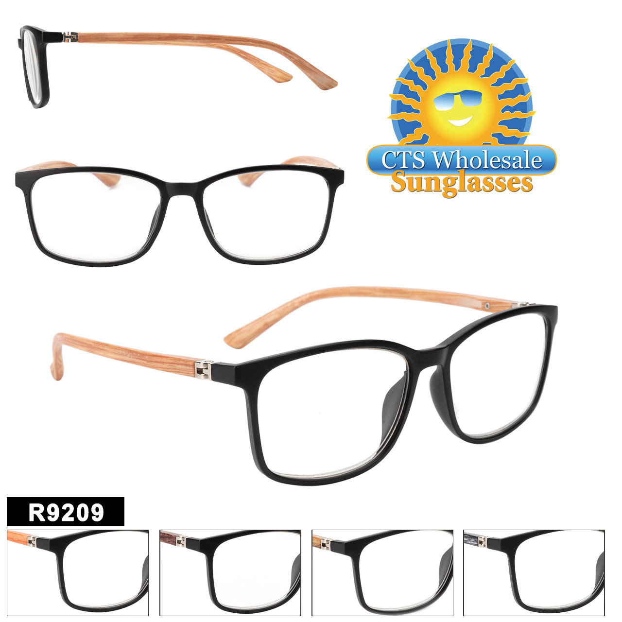 Brand New wholesale Reading glass style with plastic frames and multi colored Real Bamboo temples!