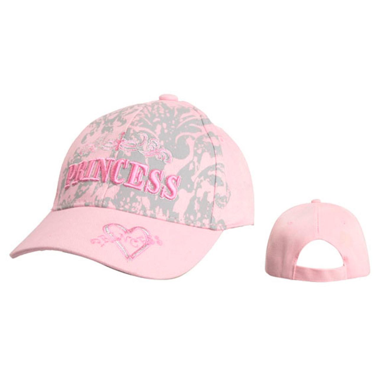"""Pink Wholesale """"Princess"""" Baseball Caps for Juniors'"""