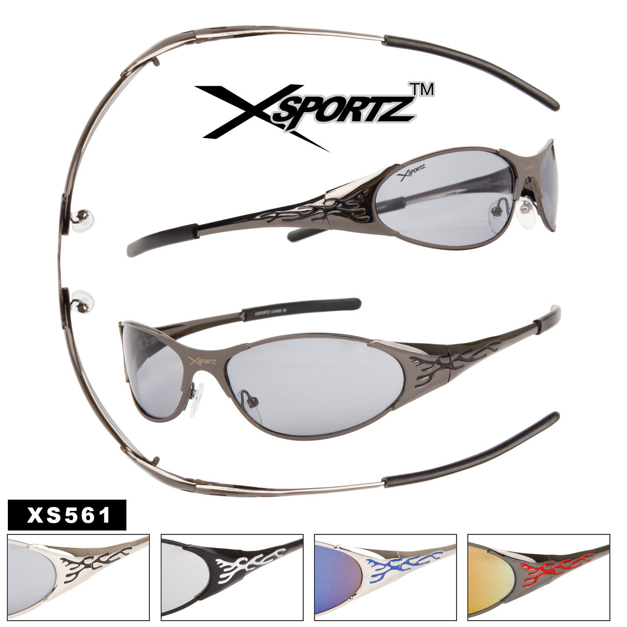 Xsportz™ Wholesale Sport Sunglasses with Spring Hinges - Style # XS56
