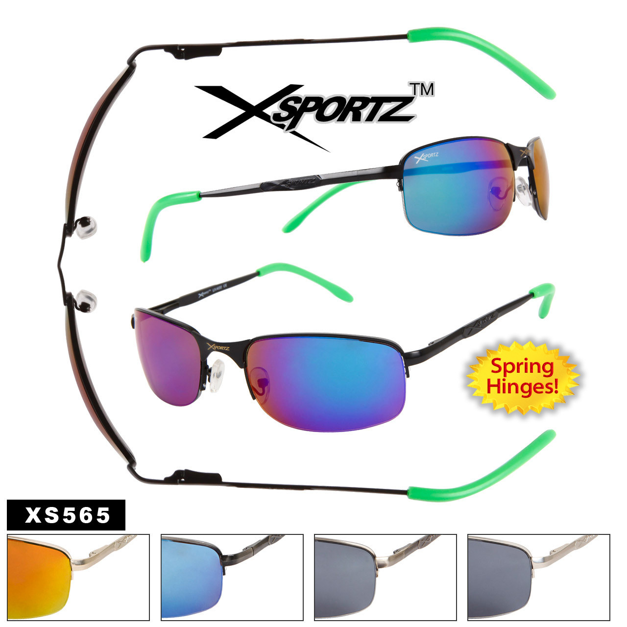 Xsportz™ Metal Frame Sports Sunglasses - Style # XS565