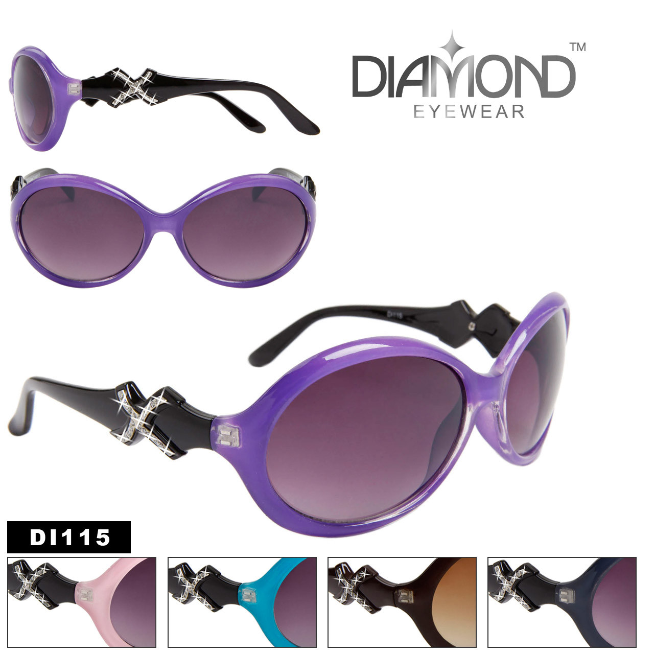 Designer Diamond Eyewear with Rhinestones DI115