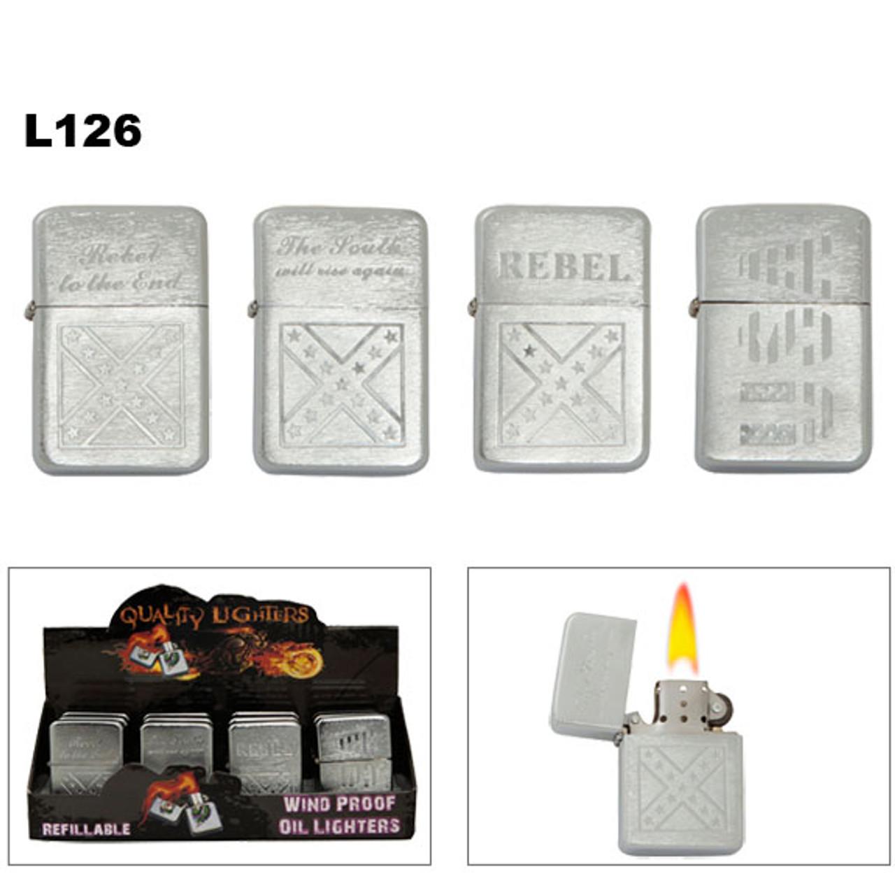 Engraved Oil Lighters Wholesale | Rebel | USA