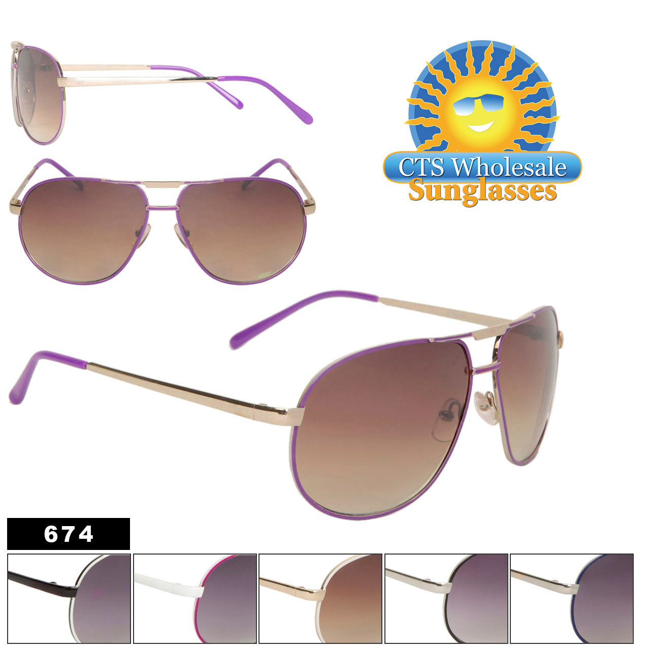 Wholesale Aviator Sunglasses 674