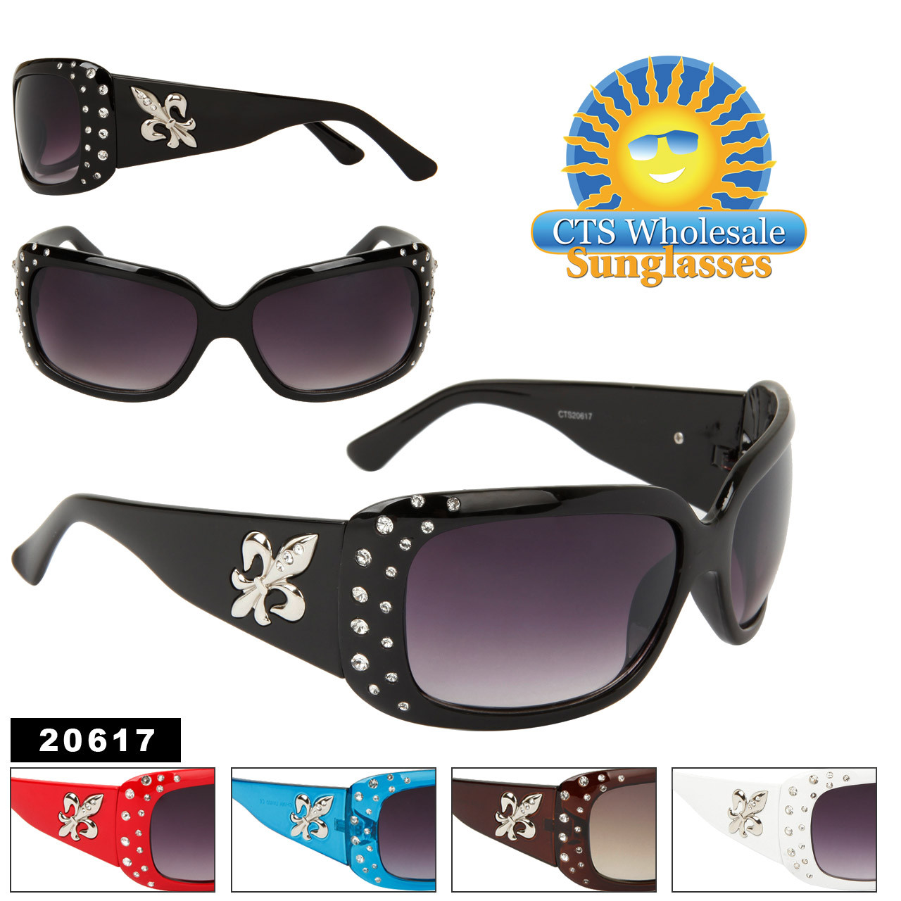 Fleur de Lis & Rhinestone Sunglasses 20617 (12 pcs.) (Assorted Colors)